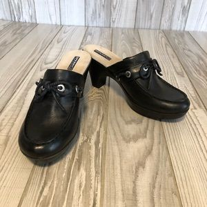 Sperry black heeled leather shoes